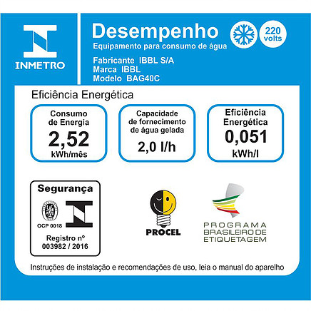 Bebedouro de Pressão IBBL BAG40C Inox consumo energetico