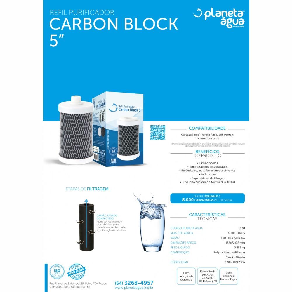 """Refil Filtro Carbon Block 5"""" Planeta Água, BBI, Pentair, Lorenzetti detalhes"""