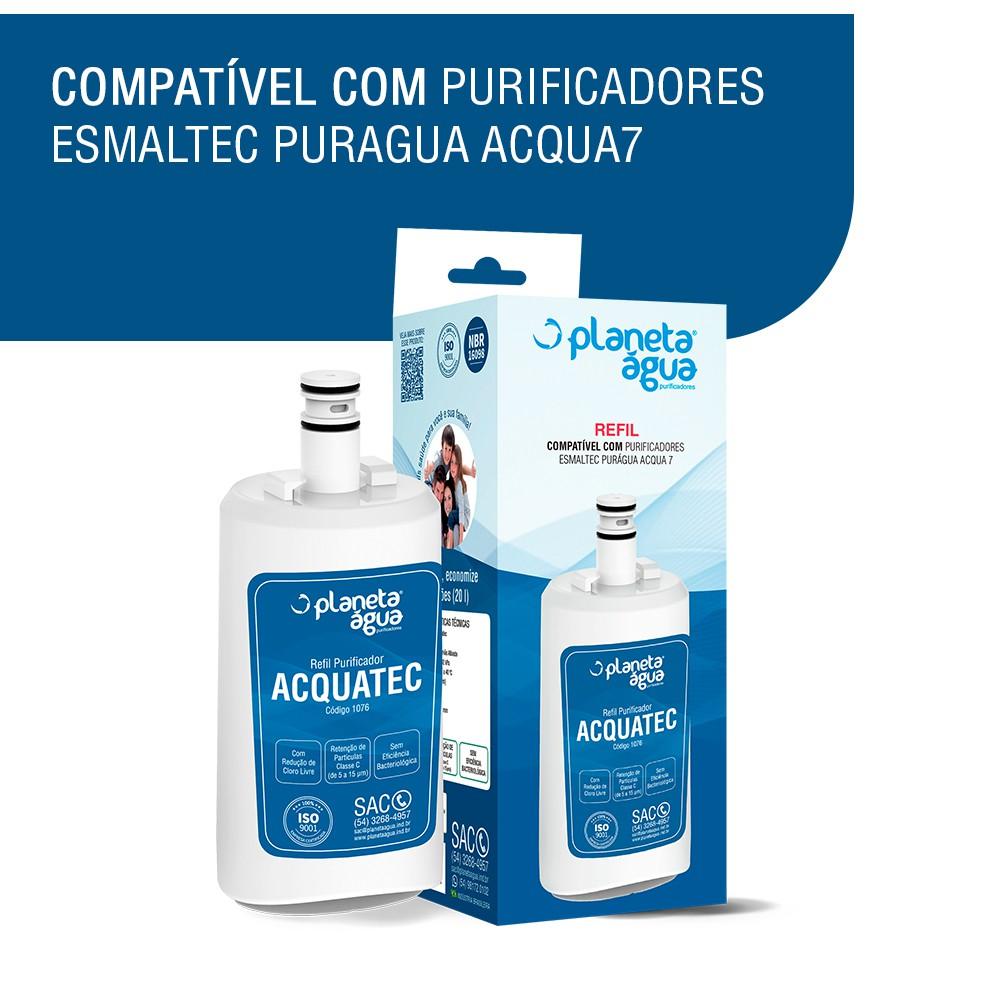 Refil Filtro Aquatec para Purificador de Água Esmaltec Puragua Acqua 7 compatibilidade