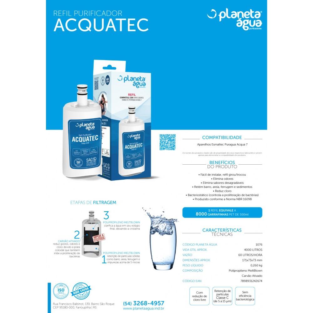 Refil Filtro Aquatec para Purificador de Água Esmaltec Puragua Acqua 7 detalhes